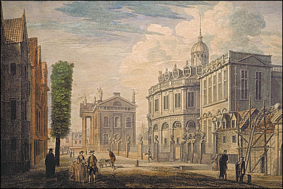 'A View of Exeter College Back Gate, the Musæum, the Theatre, the Printing House, &c. in the University of Oxford'.
