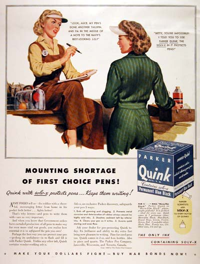1944 Parker Quink Permanent Pen Ink Advertisement