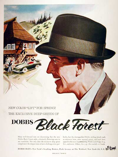 1955 Dobbs Hats original vintage advertisement.