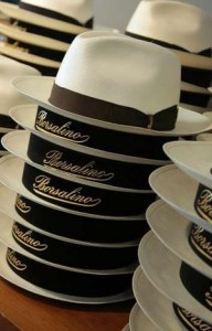 Panama hats in a Borsalino boutique in Milan.